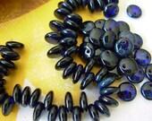 6mm Czech Lentil Glass Beads- Trans Cobalt Picasso (50)