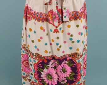 Vintage 60s Boho Skirt Pyschedelic Floral Paisley Midi Bright M L