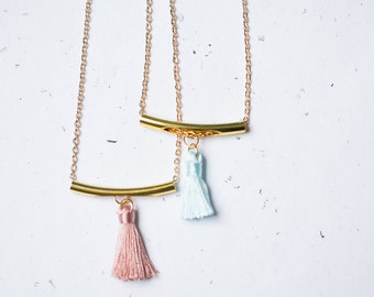 Tassel Necklace Pendant Boho Pendant Long Gold Tube Layered Necklace modern geometric minimalist colorful summer jewelry