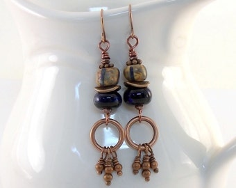 Blue and Black Copper Earrings - Blue and Black Earrings - Lampwork Earrings - Wire Earrings - Copper Earrings - Antique Copper - E103