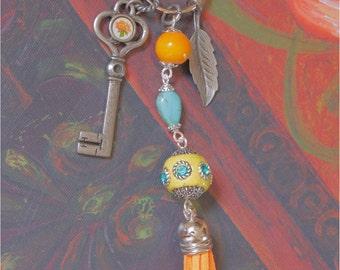 Key Chain Purse Charm Antique Key Leaf Turquoise Howlite