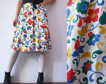 60s floral skirt with pockets. high waist novelty print skirt. button front skirt - xxs, xs