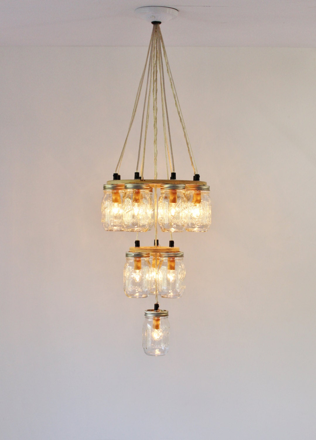 Mason Jar Chandelier Large 3 Tier Mason Jar Lighting Fixture