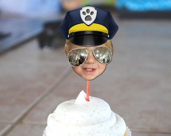 Paw Patrol Chase the Police Dog Inspired Photo Cupcake Toppers Digital File - (Policeman Design)