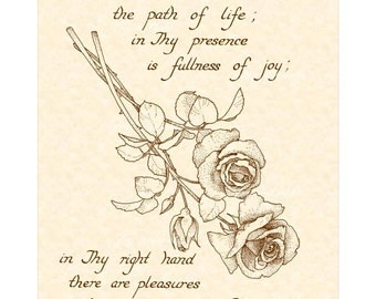 PSALM 16:11 - 8x10 Hand Written Calligraphy Art Print Natural Parchment Sepia Brown Ink Vintage Verses Joy Forever Pleasure Right Hand Rose