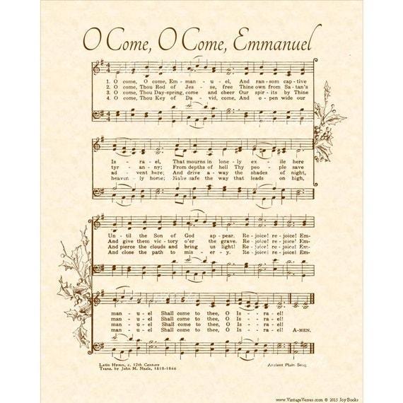 O Come O Come Emmanuel Custom Christian Home Decor