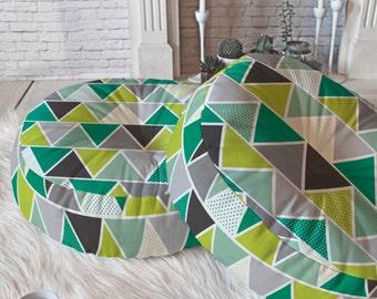 Modern Geometric Floor Pillow // Round and Square Sizes // Home Decor // Floor Cushion // Dorm Decor // Emerald Triangulum Design // Green