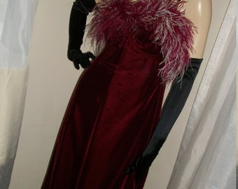 1960s Vintage Ruby Red Velvet Feathered Maxi Gown Size M Montgomery Ward Label Mint Cond