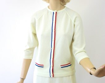 Vinage 60s Knit Suit Sweater & Skirt  White Dacron Knit w Navy Red Trim 2 piece set by Talbott Travler size small