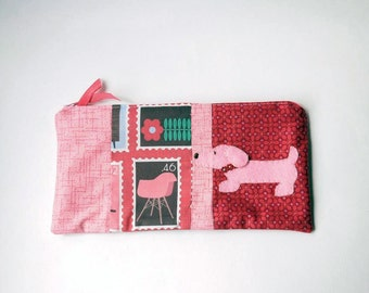 "Zipper Pouch, 5.5x10"" in Red, Pink, Green, Brown and Periwinkle print fabric with Handmade Felt Dog Embellishment, Dachshund Pencil Case"