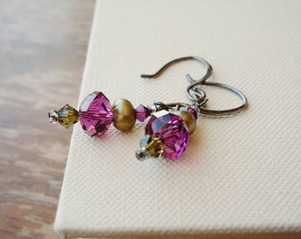Purple and Green Crystal and Freshwater Pearl Dangle Earrings . Oxidized Sterling Silver Purple Crystal and Green Pearl Drop Earrings