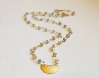 Labradorite Beaded Gemstone Necklace with Gold Stardust Crescent Moon
