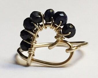 Sapphire Ring    Blue Sapphire Ring   Heart Ring   Sapphire Gemstone  14K Gold Filled Ring   September Birthstone