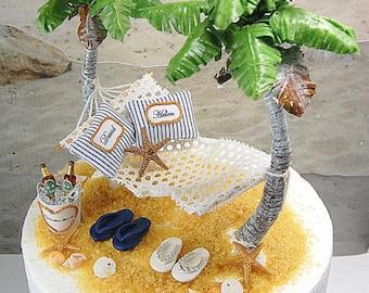 Personalized Beach Beverage Hammock Cake Topper OOAK Artisan Custom Handmade To Order, Royal Palm Trees, Flip Flops And More