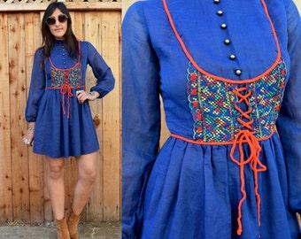 Vintage 1960s MOD Folk MINI Dress S
