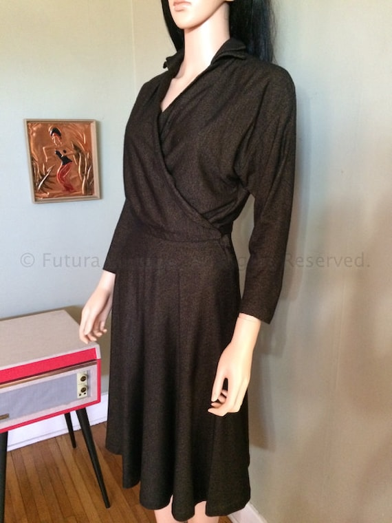 1960s Stylish BOBETTE MORTON Two Piece Golden Brown and Black Wrap Top with Matching Skirt-S