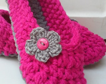 Girls Crochet Hot Pink Slippers   Hot Pink Crochet Slippers   Hand Crochet Slippers   House Shoes   Crochet Booties   Slippers