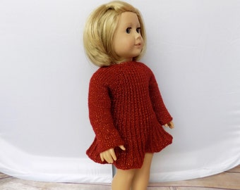 Doll Dress, Sparkly Doll Dress, 18 Inch Doll Clothes, Knit Doll Clothes