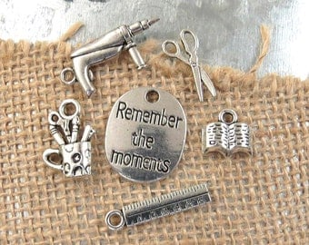 6 LOVE to SCRAPBOOK Charm Collection, Scrapbooking Themed Antique Silver Charms, Remember the Moments, Glue Gun, Scissors, Ruler, Pencil Cup