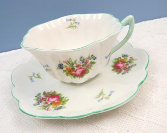 Vintage Shelley Bone China Tea Cup & Saucer, Duchess and Bluebell, Stratford Shape, 12704, Pink Floral with Robins Egg Blue