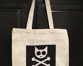 Kitty Pirate Flag natural tote