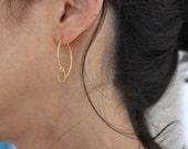 Simplicity Circle earrings - gold danglys - marquis earrings