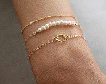 Pearl and Gold bracelet set - 3 dainty gold stacking bracelets - save 15%