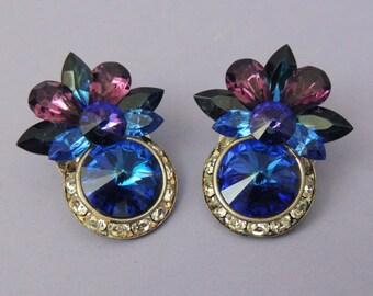 Stunning Vintage Blue and Purple Rivoli Crystal Earrings / Fashion Earrings / Crystal Earrings / Rhinestone Earrings / Clip Earrings
