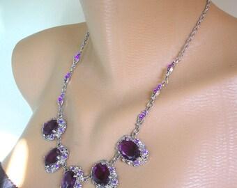 Amethyst Necklace, Purple Rhinestone Choker, Vintage Bridal,  Wedding Jewelry, Purple Jewelry, Party Necklace, Prom Jewelry, Diamante, Deco
