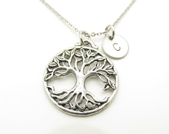 Tree Necklace, Tree of Life Necklace, Personalized, Giving Tree, Monogram Necklace, Initial Necklace, Antique Silver Tree, Ornate Tree Y364