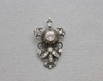 Rare Georgian Sterling and Paste Pendant / 1780s Regency Jewelry / Bridal Necklace