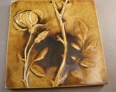 """Antique Tiles by Chelsea Keramic Art Works, Tile Blossoming Rose w/ Branch and Buds, Victorian Art Tiles Arts and Crafts Tiles """"USA ONLY"""""""