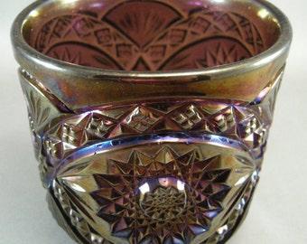 Carnival Glass  Dark Amethyst Sugar Bowl