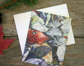 Leaves Watercolor Note Card- Hidden Treasure- Blank Card- Fine Art- Red, Grey, Blue