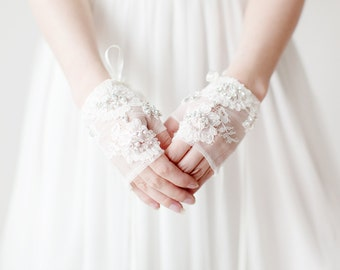 Fingerless Bridal Gloves, Crystal beaded Lace Bridal Gloves, Lace Wedding Gloves - Style 517