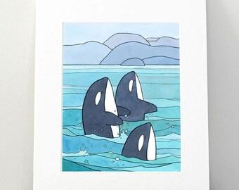 Killer Whales Art Print, Orca nursery wall art, 8x10