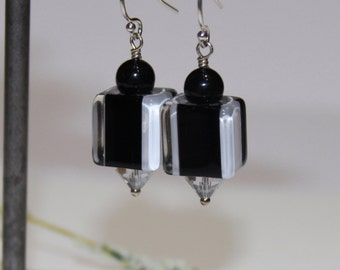 Earrings-David Christensen Beads-Handblown Furnace Glass-Cane Glass and Swarovski Crystals on Sterling-Striped-Black and White Jewelry