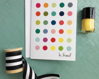 HI, FRIEND Greeting Card Blank Inside Personal Stationery Modern Preppy Colorful Generic Anytime Note Cards Thinking of You Happy Mail