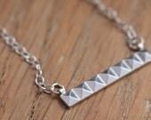 Silver Pyramid Necklace - Silver Bar Necklace - Simple Silver Necklace