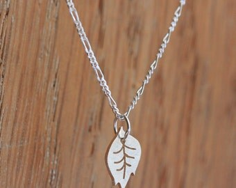 Tiny Leaf Necklace - Handmade Silver Necklace with a Little Leaf Pendant