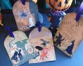 Lot of 4 Halloween Tags Scrapbook Papercraft Treat Bags