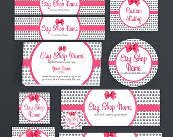 Etsy Pro Branding Package for Etsy Sellers - Polka Dots Etsy Shop Covers - Pink Grey Etsy Shop Cover - Christie