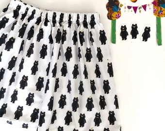 Party BEARS Skirt in Black and White