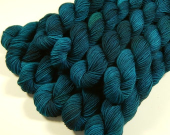 Sock Yarn Mini Skeins - Hand Dyed Yarn - Sock Weight 4 Ply Superwash Merino Wool Yarn - Deep Sea Tonal - Blue Green Fingering Yarn, DIY Gift