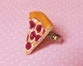 Polymer Clay Pepperoni Pizza Ring, Food Jewelry