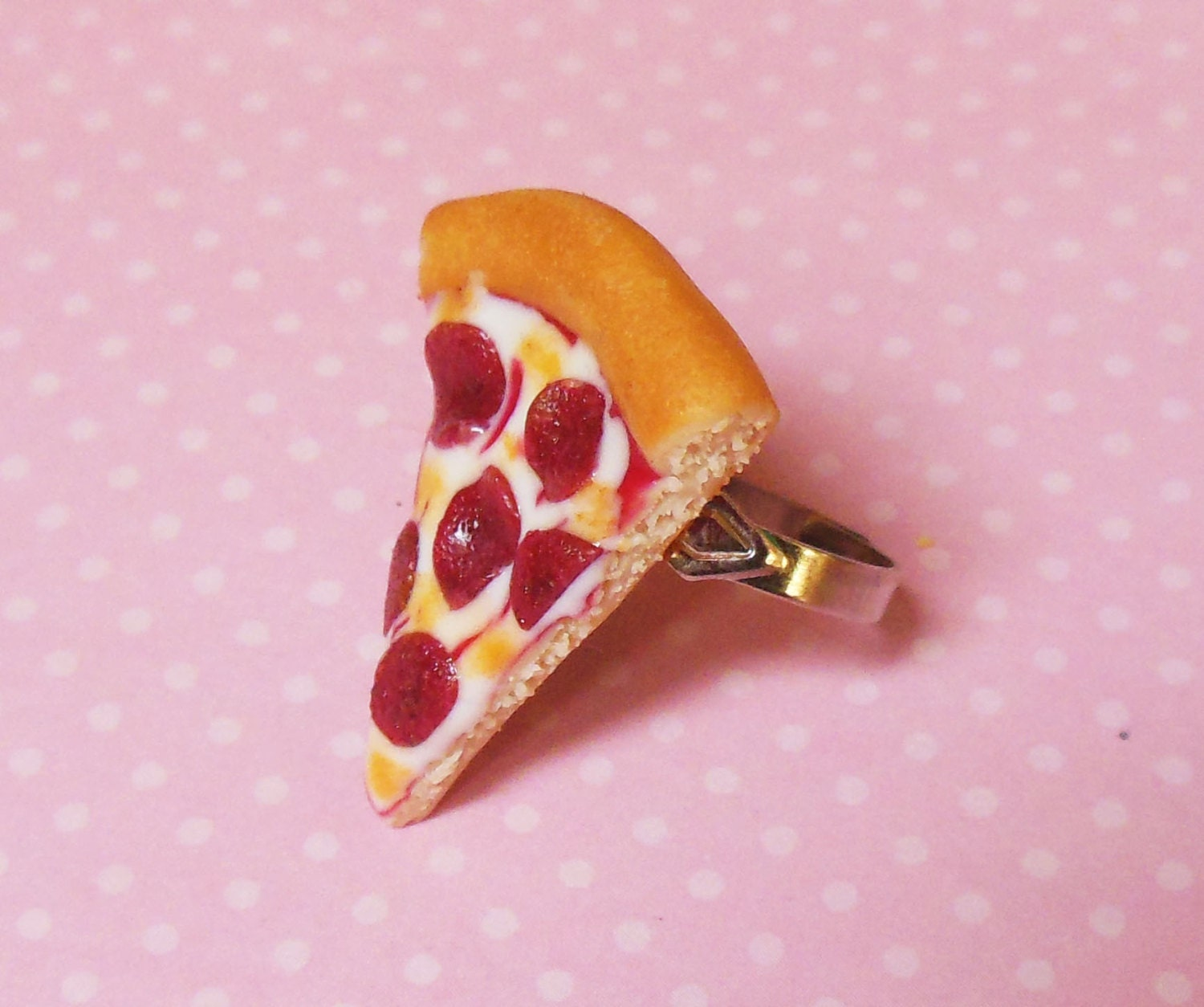 polymer clay pepperoni pizza ring food jewelry