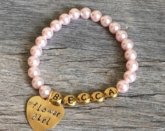 flower girl bracelet personalized, flower girl gift ideas, flower girl pearl bracelet, flower girl presents, gifts for flower girl