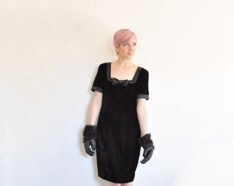 little black velvet dress . satin trim and BOW TIE . 80s party time .medium.large .sale s a l e
