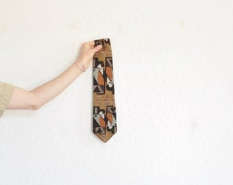 mid century art deco chair necktie . kitsch silla print menswear accessory .sale