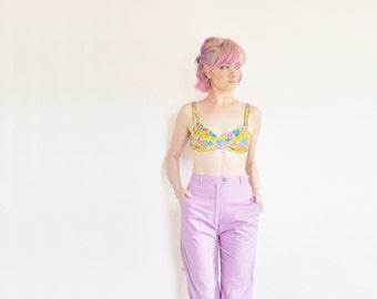 yellow velvet floral bikini top . one piece garden print swimsuit .small
